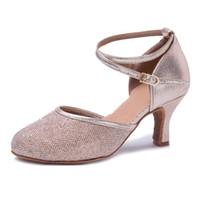 chaussures tango talons hauts achat en gros de-Femme Haute Talon 7CM Ballroom Tango Sandales Dansantes Chaussures Or Argent