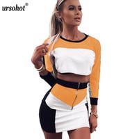 uzun kollu elbiseli iki renk toptan satış-Ursohot Renkler Patchwork Moda Iki Parçalı Elbise Kadın 2018 Sonbahar Uzun Kollu Üstleri Bodycon Etekler Robe Kadın Setleri