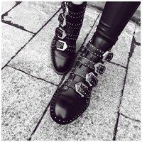 estilo punk metal al por mayor-Lo nuevo Punk Metal Style Remaches Hebilla Correa Motorcyle Botines Mujer Zapato Mujer Zapatos de cuero suave mujer