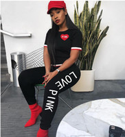 Discount american football costume - New Fashion Russia style Tracksuit Women Costumes 2 Piece Sets PINK Letter Printing Black Women's Tracksuits Sporting