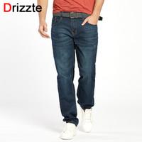 Wholesale taper sizes - Drizzte Men Jeans Plus Size 28 To 46 Trendy Taper Stretch Relax Jeans Blue Denim Jean Trousers Pants Luxury Jeans
