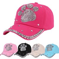 newest edc11 4de6a Candy Colors Baseball Cap Outdoor Casual Sun Hat With Rhinestone Bear Paw  Pattern Casquette For Women Children 11 5kh BB