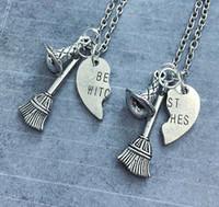 en iyi dost kalp kolye gümüşü toptan satış-6 takım / grup En iyi cadılar kolye kırık kalp best friends kolye gümüş ton