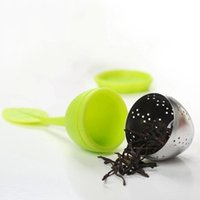 Wholesale Tea Trays Wholesale - Silicone Stainless Steel Loose Leaf Tea Strainer Teaspoon Infuser Ball Filter Teapot with Drop Tray Herbal 1 Pcs DDA414
