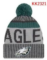 Wholesale Knit Visor Hat - Eagles knitted Hats cap Adult Pom Winter beanies Acceap Mix Order