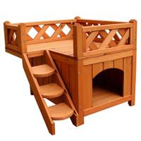 древесные питомники оптовых-2 слоя доверия животного деревянная собака дом кот дом конуры с балконом дерево цвет крытый приют с лестницы