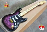 Wholesale guitar electric gold hardware for sale - Top Quality cheap price GYST transparent purple tiger stripes gold hardware ST Electric Guitar Be Customized