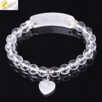 Wholesale clear crystal beads 8mm - CSJA Natural Stone Bracelets White Quartz Clear Crystal 8mm Bead Bracelet for Women Men Love Heart Cystal Pendulum Chakra Jewelry F277