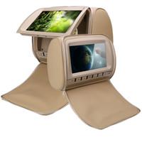 dvd de juegos de video al por mayor-DVD auto de 2x 9 pulgadas para video de reposacabezas beige de DVD de automóvil con juego USB SD FM IR asiento trasero