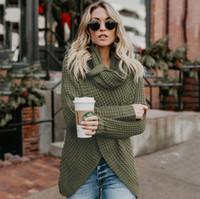 qualität drapiert großhandel-Hochwertige Strickjacke Frauen Asymmetrische Pullover Herbst Winter Mode Drapierte Kragen Lose Beiläufige Winter Strickjacke mit Knopf FS5733