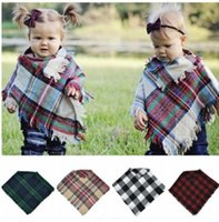 Wholesale cloaks for children resale online - Children Baby Scarf Plaid Cloak Plaid Cloak Warm Knitted Blouse Shawl Baby Plaid Scarf Poncho suit for years KKA5823