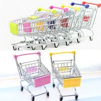 mini rack de stockage achat en gros de-Nouveau Mini Supermarché Handcart Shopping Utility Cart Mode Stockage Panier Bureau Jouet Titulaires De Stockage De Stockage Gratuit DHL WX-C27