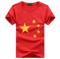 branco t shirts china venda por atacado-Vermelho Branco Dos Homens T-shirt Estrelas Impressão China Flage Tops Tripulação Pescoço Casual Tee Masculino Vestuário T-shirts