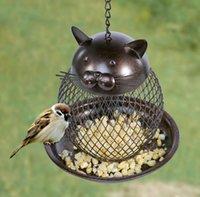 kuşlar el yapımı toptan satış-Kedi Şekilli Kuş Besleyici Kedi Şekilli Vintage El Yapımı Açık Dekor Villa Bahçe Dekorasyon Asılı Kuş Açık Besleyici