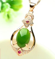 Wholesale hetian pendant for sale - Group buy Silver Plated Rose Gold Inlaid Natural Jade Jasper Pendant Fashion Woman Drops Hetian Natural Jade Jade Pendant Jewelry