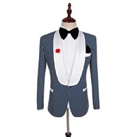 ingrosso black pants navy blue blazer-Groomsmen scialle bianco smoking smoking dello sposo nero / blu navy / blu royal uomo abiti da sposa miglior uomo giacca (giacca + pantaloni + cravatta)