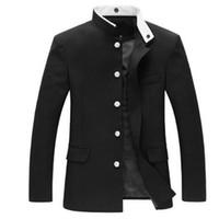 pecho japonés al por mayor-Hombres chaqueta negra túnica delgada chaqueta de un solo pecho uniforme escolar japonés Gakuran College Coat New 047-4842