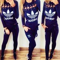 athletic clothing großhandel-NEO Frauen-Hühneraugen-Sportanzug Lange Ärmel + Hose Zwei Stücke Athletic Wear Mädchen Lässige Kleidung
