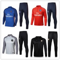 Wholesale Football Training Kits - TOP Quality Soccer tracksuit set 2018 Paris tracksuits 18 19 MBAPPE NEYMAR JR LUCAS HOME Football jacket kit Training suit