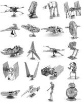 juguetes modelo de aviones al por mayor-168 Diseños de metal 3D rompecabezas Juguetes modelo DIY Aviones Automóviles Tanques Tie Fighter Planes 3D Metallic Nano rompecabezas de construcción para adultos y niños