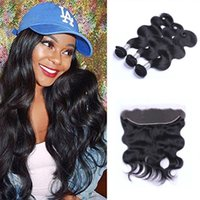 Wholesale full lace 22 inch resale online - Brazilian Body Wave Human Hair Wefts Bundles with x4 Lace Frontal Ear to Ear Full Head Natural Color Can be Dyed Human Hair Wefts