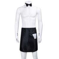 disfraces masculinos de fantasia al por mayor-Sexy Hombre Backless Bow Tie Collar Puños Delantales Stripper Set Butler Waiter Fantasy Cosplay Disfraz Dress Up Valentines Outfit