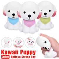 mavi köpek oyuncakları toptan satış-Squishy Yeni Varış 1 Adet Jumbo Squishy Sevimli Yavru Kokulu Krem Köpek Yavaş Yükselen Sıkıştırmak Dekompresyon Oyuncaklar PembeYeşilMavi Sıcak