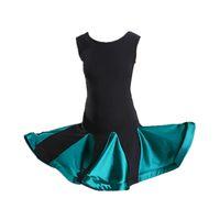 vestir salsa infantil al por mayor-vestido de baile latino para niñas latin salsa vestido spandex rumba tango niños vestidos de baile para niños sa competencia de cha cha cha