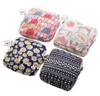Wholesale Towelling Fabric Wholesale - Free Shipping Cute Cartoon Sanitary Napkin Bag Purse Holder Organizer Storage Bags with Zipper Traveling Travel Napkins Towel Pouch Pad Hold