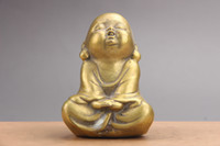 monge de metal venda por atacado-Requintada mão chinesa esculpida pequenas monk latão estátuas as206