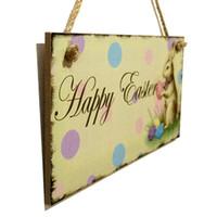fabrika panoları toptan satış-Ev Karikatür Süs Sevimli Tavşan Desen Dekoratif Etiket Ahşap Mutlu Paskalya Asılı Kurulu Fabrika Doğrudan Satış 8 5jm B