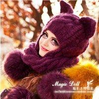 lila katzenhut großhandel-Freies Verschiffen 2014 purpurrote schwere Haarkugel-Ohrenschützerzopfschal-Katzenohr-Magiewinkel der Wolle strickte Hüte und Handschuhe
