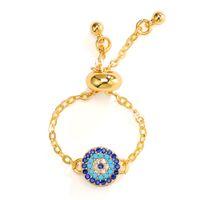 blaue kristallgoldcharmeperlen großhandel-8mm gold Star Evil Eye ringe Religiöser Charme Blaue Perlen Glück verstellbare ringe Beste Übereinstimmung Türkische Auge ringe Für Frauen