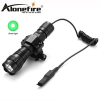 Wholesale outdoor remote switch - AloneFire CREE 501Bs Green light Tactical Flashlight Outdoor hunting camping lights Remote switch Tactical mount for 18650