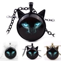 Wholesale Silver Bronze Charms - 2018 New Black Cat Glass Cabochon Necklace Silver Bronze Cat Ear Frame Pendants Fashion Jewlery Gifts for Women Kids 162597