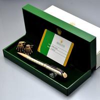 mejores plumas de metal al por mayor-Conjunto de calidad superior de la pluma para el mejor regalo único rejilla metálica RX escribir bolígrafos + gemelos de marca clásica + caja de regalo lindo