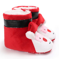 niedliche stiefel schuhe karikatur großhandel-Baby Winter Stiefel Warme Mode Niedlichen Cartoon Weihnachtsmann Schuhe Säuglingskleinkind Jungen Mädchen Snowfield Neugeborenen Weihnachten Beute