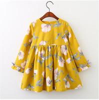 elbise polka pembe tutu toptan satış-Bebek Uzun Kollu Çiçek Baskı Elbise Kız İlkbahar ve Sonbahar Ilmek Elbiseler Etekler Çocuk Giysileri BLB 003