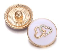 metall rose knöpfe großhandel-10Pcs 2019 neue Rose Gold Snap Schmuck Kristall Double Love Herz 18mm Metall Snap Button Fit Snap Armband Valentinstag Geschenk