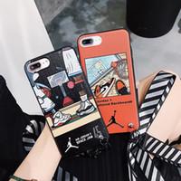 zapatos de rayas de cebra al por mayor-Sports Graffiti Zebra Print Contraportada Frosted Stripe Pattern Lanyard Bracelet Phone Shell Zapatos de baloncesto para iPhone XS Max XR 6s 8 Plus