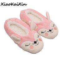 91e8321fe Winter Animals Style Women Home Cotton Slippers Ladies Indoor Floor Cute Pink  Fox and Black Cat Soft Sole Ballet Yoga Flat Shoes