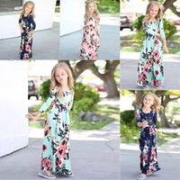 vêtements de style bohème pour les enfants achat en gros de-Détail 6 Couleurs Enfants Filles D'été Floral Long Maxi Princesse Robe Enfants Bohême Plage Fleur Imprimé Robes De Soirée Enfants Vêtements