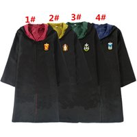 Wholesale harry potter adult robes online - Harry Potter Robe Cloak Cape Cosplay Costume Kids Adults Unisex Gryffindor school Uniform clothes Slytherin Hufflepuff Ravenclaw colors