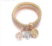 bracelet en diamant couleur achat en gros de-Nouvelle chaîne de maïs européenne et américaine transfrontalière pour bracelet Shambala diamants bracelet pop-corn tricolore vie bracelet de fleurs