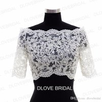 Wholesale wedding dress bolero sheer lace - New Half Sleeve Lace Bridal Jacket Lace Appliqued Tulle Wedding Party Dress Sheer Wraps Bolero with Covered Buttons Custom Make Real Photos
