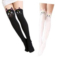 Wholesale hot cat woman costume online - Hot Anime Sailor Moon Cosplay Costume Women Luna Cat Socks Pantyhose Silk Tights Leggings Stockings Black And White Free Ship