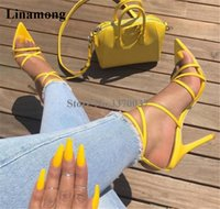 yellow sandals heels Australia - Women Luxury Pointed Toe Patent Leather Yellow Strap Cross Stiletto Heel Sandals Ankle Straps Gold Silver High Heel Sandals