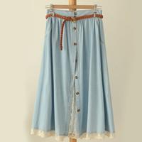 Wholesale denim skirts for women - Mori girl Summer Spring Skirts for women Lace denim A line Women Long Skirts One size