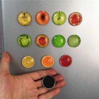 Wholesale fruit magnets resale online - 10pcs Fruit Fridge Magnet Home Decoration Lemon Refrigerator Sticker Decals Glass Cabochon Notes Message Holder Sticker