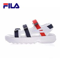 Wholesale Beach Water Sandals - 2018 new arrivel fila summer men blue white red Sandals Anti-slipping Quick-drying Outdoor Sandals Soft Water Shoes Beach Sandals